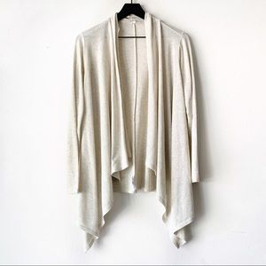Passports Draped Cream Open Front Cardigan